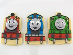 Thomas the Tank Engine Cookies w/ 3D Faces - I feel like I will have to make these sometime in the near future. :)
