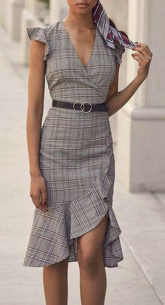 af86814ad452 Poised For a Promotion Grey Glen Plaid Ruffle Midi Dress
