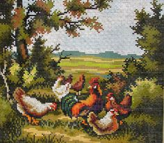 """NEEDLEPOINT CANVAS// """"Chickens"""" by Rico Goblain.A Vintage Needlepoint Colorful Chickens & a Cockerel Feeding in the yard .//Was 65.00) Now!"""