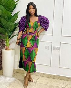 Ankara Gown With V-Neck
