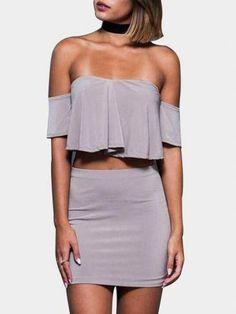 Grey Crop Top & Skirt With Off Shoulder