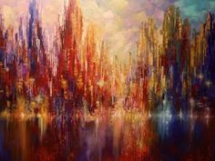 Abstract cityscape painting palette knife time lapse by artist Tatiana iliina - YouTube