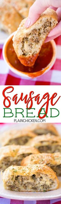 Sausage Bread - SO good! We ate this for lunch two days in a  row! Easy and delicious! Great for parties and an easy lunch/dinner. Serve with warm sauce. Refrigerated french bread dough stuffed with sausage, onion, fennel, dijon mustard, egg, mozzarella cheese, butter, Italian seasoning and parmesan. Can make ahead of time and reheat.