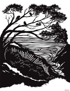 Mendocino print of original artwork by Nikki McClure $12