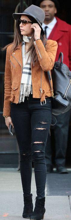 23acb64922d Who made Nina Dobrev s brown belted jacket