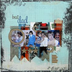 A guy a scrapbook layout honoring my husband.  Bo Bunny paper collection.