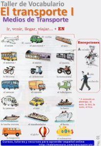 Medios de transporte Let's learn vocabulary related to means of transport in Spanish. First download the pdf sheet, after that practice the vocabulary with our quizzes. Finally you can also watch t…