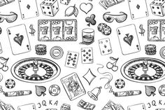 Pencil Drawing Patterns Seamless casino hand drawn pattern by Netkoff on Creative Market Casino Night Party, Casino Theme Parties, Poker, Roulette, Theme Tattoo, Card Drawing, Drawing Ideas, Casino Decorations, Gambling Quotes