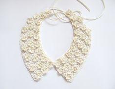Handmade Crochet Flowers Collar Lace Ivory by JurgitasHandicrafts, $30.00