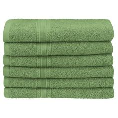 Superior Eco-Friendly 100% Ringspun Cotton 6-Piece Hand Towel Set, Green