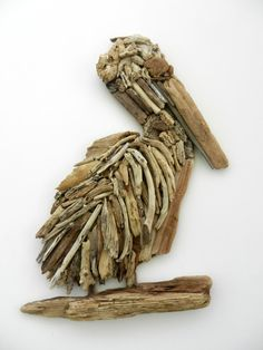 Driftwood Pelican Wall Art on Etsy, $85.00