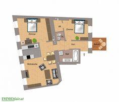 Grundriss #Wohnung Top 6a - 3. Zimmer mit Balkon Usb Flash Drive, Floor Plans, Condominium, Balcony, Floor Plan Drawing, House Floor Plans, Usb Drive