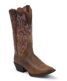 Tan Vintage Buffalo Cowboy Boot by Justin