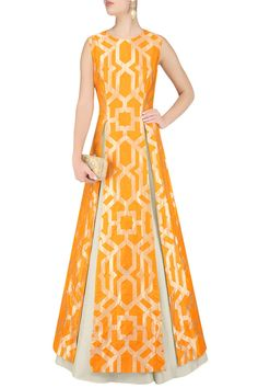 Orange thick line brocade high slit kurta and beige lehenga set available only at Pernia's Pop Up Shop. (Indian Top Design)