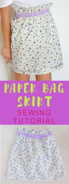 PAPER BAG SKIRT SEWING TUTORIAL - Wanna make a super easy but comfy and cute skirt? This paper bag skirt tutorial is just perfect for you! Great beginners project!  #sewing #paperbagskirt #sewingforbeginners