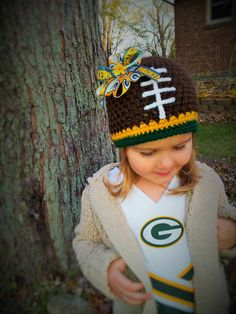 Green Bay Packer Crocheted Hat by eclecticcraftshop on Etsy