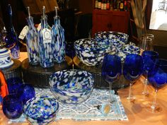 We are featuring the hot summer color of royal blue in bowls and glasses and much more at Market Alley Wines, Monmouth IL
