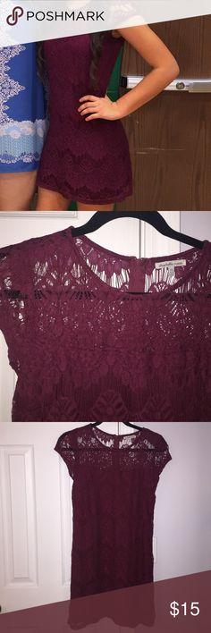 Maroon lace short dress Size XS maroon lace dress. Zipper back. Only worn once. Charlotte Russe Dresses Mini