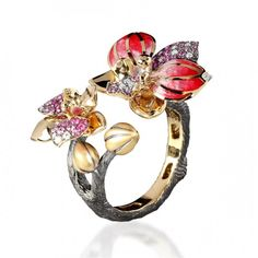 Ring of Orchid, Botanic collection, 18 K gold, ruby, pink sapphires, diamonds,colored enamel by Mousson Atelier.