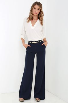 Case Study Navy Blue Wide-Leg Pants at Lulus.com!
