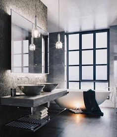 10 Awesome Industrial-Style Bathroom Design Ideas for Your Dream Home Interior Design Examples, Loft Interior Design, Interior Exterior, Interior Design Inspiration, Home Decor Inspiration, Interior Decorating, Design Ideas, Decor Ideas, Bad Inspiration