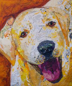 """ART AND LIFE of a figurative collage artist from Orlando, FL. Creating """"Paintings"""" with bits of torn paper, applied as brush strokes! Paper Collage Art, Collage Artists, Paper Art, Collages, Intro To Art, Creative Art, Creative Crafts, Mosaic Art, Dog Art"""