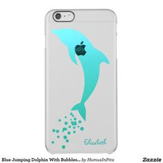 Blue Jumping Dolphin With Bubbles Phone Case Uncommon Clearly™ Deflector iPhone 6 Plus Case