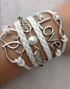 White Double Heart, Love, Infinity Bracelet $8 http://www.sixshootergiftshop.com/collections/multiple-stranded-bracelets/products/white-double-heart-love-infinity-bracelet