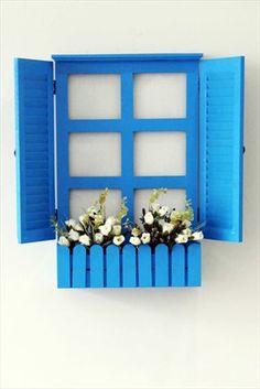 Çiçekli Mavi Ahşap Pencere Duvar Dekoru C720JJ9100 Chiccy Decolife   Trendyol