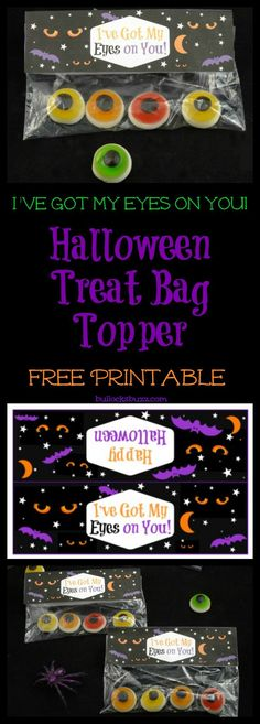 Paired with eyeball candy, cookies or toys, these frightfully fun Halloween Treat Bag Toppers will make a spook-tacular Halloween treat! Don't forget to click thru to the blog to get your free printable treat bag toppers!