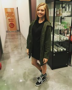 Forever 21 army green jacket, Forever 21 black t-shirt dress, black high top Vans, palm tree PINK socks