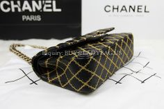 Black Classic Chanel Flap Bag on Chain in Golden Embroider Lambskin  Dimension: 25*16*7CM  Inquiry: buy@ladybag.us  http://www.ladybag.us