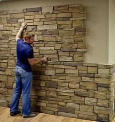Faux Stone Sheets …great idea for a basement accent wall … Urestone sheets in different textures like flagstone, red brick, bark, & others … can be purchased from Home Depot ………. Home Depot, Basement Walls, Basement Bedrooms, Basement Stairway, Basement Bathroom, Basement Apartment, Basement Wall Panels, Basement Studio, Basement Gym
