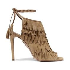 fringed suede sandals by Aquazzura. Heel measures approximately 105mm/ 4 inches. Light-tan suede. Ties at ankle. Designer color: Cappuccino . Made in Italy #aquazzura #nudeshoes #sandals