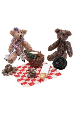 Teddy Bear Figurines with Delica Seed Beads