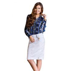 Saia Com Franzido No Cós Nítido Jeans #viaevangelica #nitidojeans #modaevangelica #modafeminina