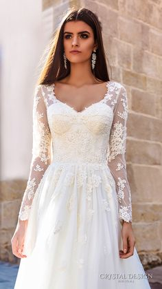 crystal design bridal 2016 sheer long sleeves v neck lace bodice corset tulle skirt elegant modified a line weding dress chapel train (siena) zv
