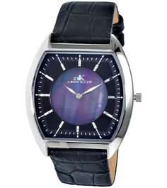Adee Kaye AK2200-MBK Men's Watch Slim Tonneau Case Blue Mother of Pearl Dial