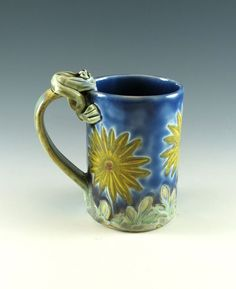 Flower Ceramic Mug - Large Blue Mug Pottery Coffee Tea Cup - Sunflowers - Daisies - Frog - by Botanic2Ceramic - 943 by Botanic2Ceramic on Etsy