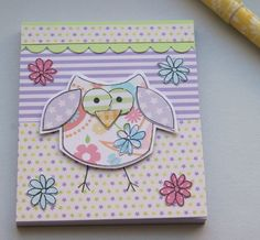 Little Spring Owl Decorated Notepad £2.50