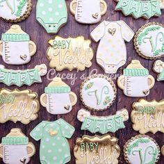 Gender neutral baby shower. #caceyscakery #sugarcookies #decoratedcookies #babyshower #genderneutral #mint #yellow #gold #edibleart