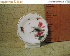 SALE Floral Rose Mini Plate - French Feve Feves Porcelain Figurine Doll House Miniatures A14 by ValueARTifacts on Etsy