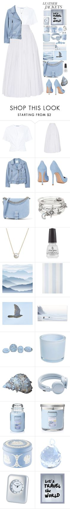 """Leather jacket"" by foximperial ❤ liked on Polyvore featuring T By Alexander Wang, Alberta Ferretti, MANGO, Gianvito Rossi, Little Liffner, Alex and Ani, Dogeared, York Wallcoverings, Anthropologie and Drew Doggett Photography"