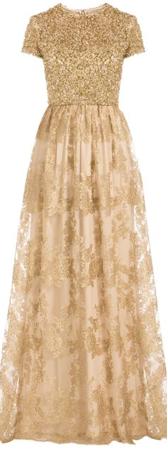 Badgley Mischka Sequin and Lace Gown