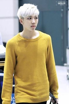 BTS Rap Monster. He looks so handsome in that yellow sweater. <3