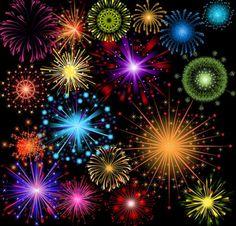 brillantes coloridos fuegos artificiales de vectores Vector Gratis