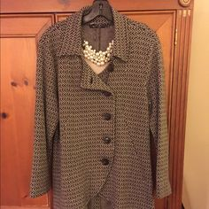 """Nie & Zoe Brown & Cream Blazer Polished looking knit jacket with geometric pattern for work or fun. Buttons up front but can wear open; size Large; 27"""" long in front and 28"""" in back; 16"""" across shoulders; 53% cotton, 25% rayon and 22% yocell; hand wash; never needs ironing  Worn twice. I'm 5.3 tall and it was too long for me. Orig $160 Jackets & Coats Blazers"""
