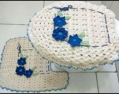 Jogo De Tapete Para Banheiro Flor Azul