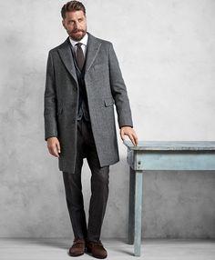 95bfbbdb97 Brooks Brothers Golden Fleece Grey Herringbone Topcoat
