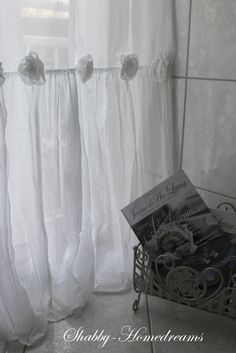 Bathroom Curtains. White, Chippy, Shabby Chic, Whitewashed, Romantic, Cottage, French Country, Rustic, Swedish decor Idea. ***Pinned by oldattic ***.